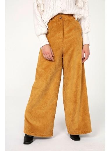 Tiffany&Tomato K20359 Yüksek Bel Aerobin Kadife Pantolon Hardal